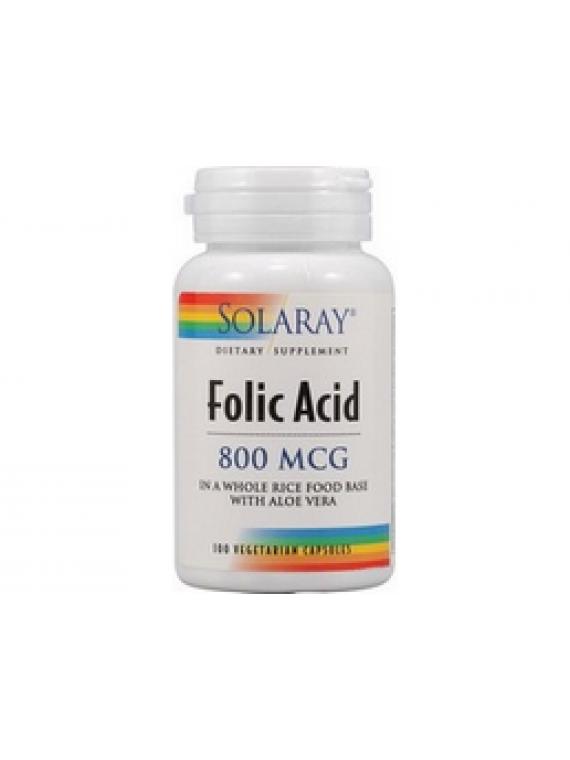 Acido fólico 800mcg 100 cápsulas Solaray